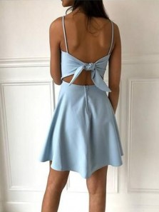 Cute A-Line Square Neck Spaghetti Straps Open Back Blue Satin Short Homecoming Dresses with Bow,Back to School Dresses Under 100,Cheap Hoco Dresses 190808006