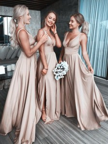 Simple A-Line V Neck Open Back Champagne Satin Long Bridesmaid Dresses,Cheap Prom Dresses Under 100 190808007