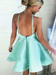 Simple A Line Halter Open Back Mint Satin Short Homecoming Dresses with Pockets Under 100, Cute Short Party Dresses 190808009