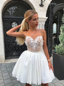 Cute A Line V Neck Spaghetti Straps White Chiffon Short Homecoming Dress with Lace and Beading HD0704005