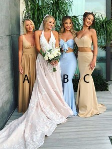 Sexy Two Piece Sweetheart Champagne Satin Long Bridesmaid Dresses with Split