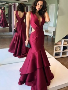 Sexy Mermaid Deep V Neck Open Back Burgundy Satin Long Prom Dresses,Evening Party Dresses