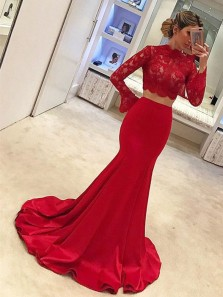 Unique Two Piece Mermaid Long Sleeve Red Satin Long Prom Dresses with Lace,Formal Party Dresses