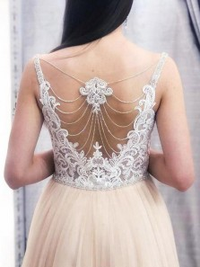 Elegant A-Line Sweetheart Champagne Tulle Long Prom Dresses with White Lace