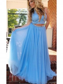 Charming A-Line Two Piece V Neck Open Back Blue Tulle Long Prom Dresses with Beading,Evening Party Dresses