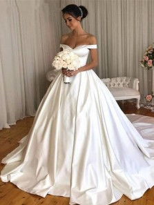 Simple Ball Gown Off the Shoulder Open Back White Satin Long Wedding Dresses
