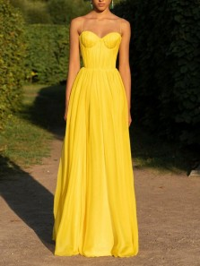 Unique A-Line Sweetheart Spaghetti Straps Open Back Yellow Chiffon Long Prom Dresses,Evening Party Dresses