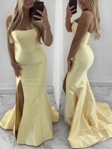 Simple Mermaid Strapless Open Back Side Slit Yellow Satin Long Prom Dresses,Formal Party Gown