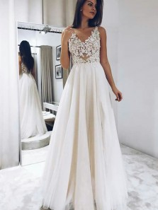 Charming A-Line V Neck White Lace Wedding Dresses,Tulle Wedding Gown