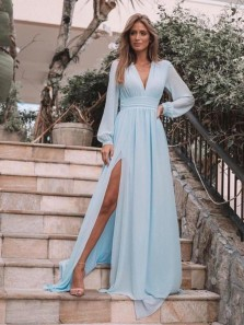 Elegant A-Line V Neck Long Sleeve Sky Blue Chiffon Long Prom Dresses with High Split,Evening Party Dresses