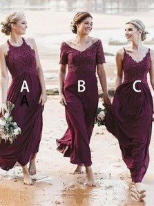 Elegant A-Line Halter Open Back Burgundy Chiffon Long Bridesmaid Dresses with Lace