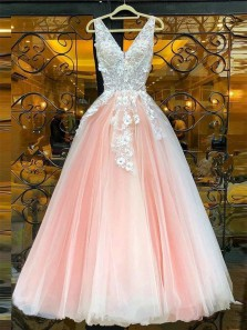 Charming A-Line V Neck Open Back Pink Tulle Long Prom Dresses with Appliques,Sweet 16 Party Dresses,Quinceanera Dresses