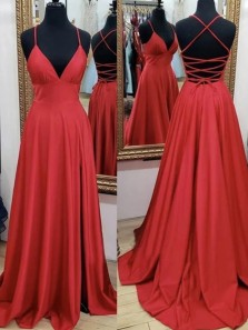 A-Line V Neck Criss Cross Back Red Satin Long Prom Dresses with Pockets