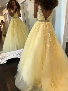 Gorgeous A-Line V Neck Open Back Tulle Long Prom Dresses with Appliques