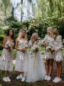 Exquisite Mismatched White Lace Tea Length and Short Bridesmaid Dresses