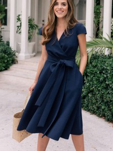 Elegant A-Line V Neck Cap Sleeves Tea Length Navy Blue Wedding Guest Dresses with Pockets