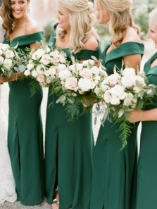 Charming Sheath Off the Shoulder Green Long Bridesmaid Dresses with Split