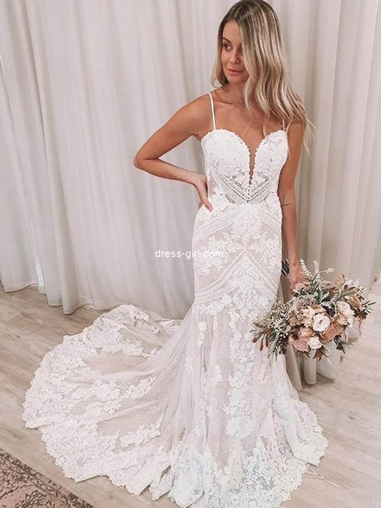 Elegant Mermaid Sweetheart Wedding Dresses,Lace Appliques Bride Dresses 2021