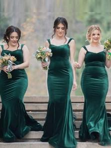 Charming Mermaid Sweetheart Straps Open Back Green Velvet Long Bridesmaid Dresses