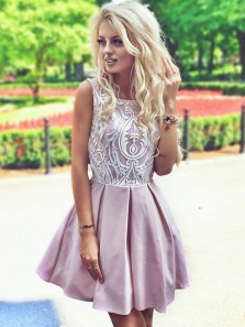 Chic A-Line Round Neck Blush Satin Short Homecoming Dresses with Lace,Short Formal Dresses DG0916002