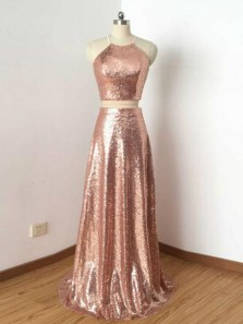 Elegant Two Piece Halter Open Back Champagne Sequins Long Prom Dresses,Charming  Formal Party Dresses DG0920002