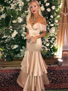 Elegant Sheath Off the Shoulder Champagne Satin Long Prom Dresses with Ruffled Hem,Unique Evening Party Dresses