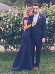 Simple Mermaid Off the Shoulder Open Back Navy Blue Satin Long Prom Dresses,Evening Party Dresses