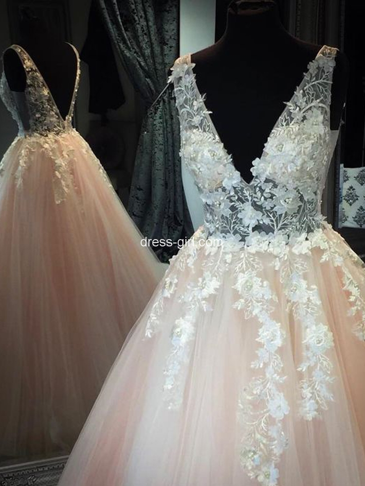 834f9c95a0 Unique Ball Gown V Neck Open Back Champagne Tulle Long Prom Dresses with  Appliques