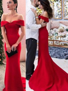 Chic Mermaid Off the Shoulder Open Back Red Satin Long Prom Dresses,Evening Party Dresses DG0315002