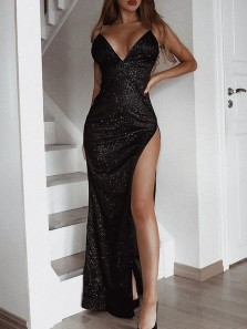 Sparkly Mermaid V Neck Spaghetti Straps Backless High Slit Black Sequins Long Prom Dresses,Evening Party Dresses