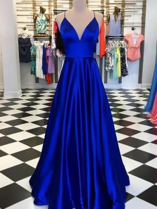 Classy A-Line Sweetheart Spaghetti Straps Open Back Royal Blue Satin Long Prom Dresses,Formal Evening Party Dresses