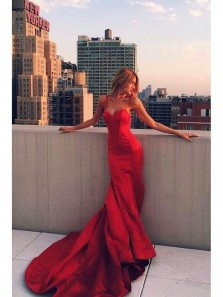 Mermaid Spaghetti Straps Backless Sweep Train Red Satin Prom Dress