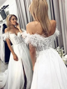 Unique A-Line Off the Shoulder Open Back White Lace Appliques Wedding Dresses,Long Prom Dresses