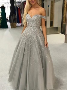 Luxurious Ball Gown Off the Shoulder Open Back Silver Beading Prom Dresses,Evening Party Dresses
