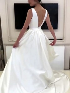 Elegant A-Line V Neck Open Back Ivory Satin Wedding Dresses with Bow