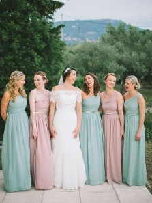 Simple One Shoulder Mint Chiffon Long Bridesmaid Dresses Under 100