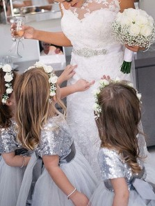 Short Sleeves Grey Sequins and Tulle Flower Girl Dress