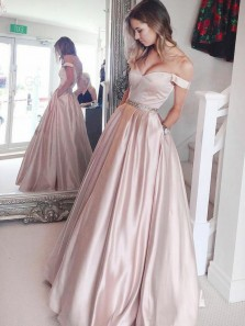 Elegant A-Line Off the Shoulder Apricot Satin Long Prom Dresses with Pockets,Formal Party Dresses
