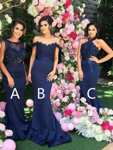 Elegant Mermaid Off the Shoulder Navy Blue Elastic Satin Long Bridesmaid Dresses with Lace Beading