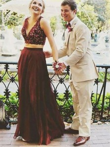 Charming A-Line Two Piece V Neck Burgundy Chiffon Long Prom Dresses with Lace,Elegant Evening Party Dresses