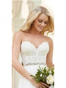 Charming A-Line Sweetheart Open Back White Chiffon Wedding Dresses,2019 Lace Wedding Dresses