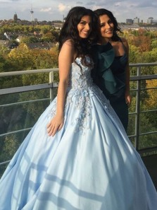 Gorgeous Sweetheart Open Back Blue Satin Long Prom Dresses with Appliques,Charming Quinceanera Dresses