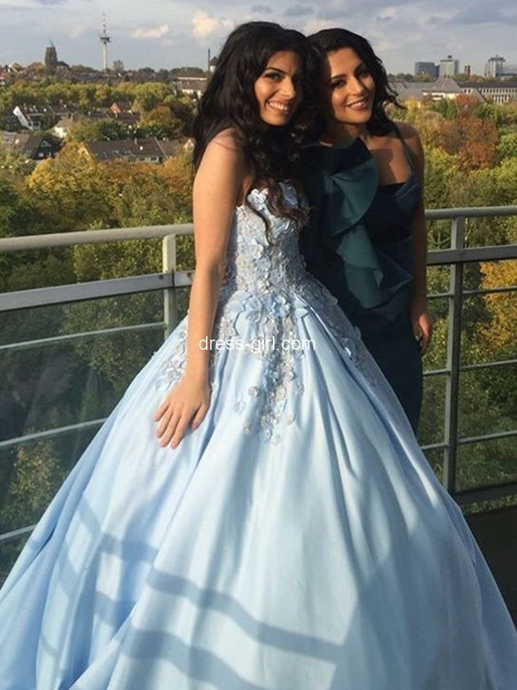 f03f89a7e85 Gorgeous Sweetheart Open Back Blue Satin Long Prom Dresses with Appliques