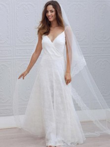 Simple A-Line Spaghetti Straps V Neck Open Back White Lace Wedding Dresses