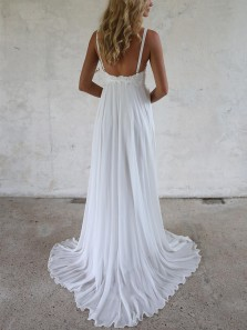 Simple A-Line V Neck Open Back White Chiffon Long Beach Wedding Dresses with Lace