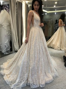Sparkly A-Line V Neck Backless Champagne Sequins Lace Long Prom Dresses,Evening Party Dresses,Girls Junior Graduation Gown