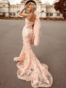 Unique Mermaid Sweetheart Open Back Champagne Blush Lace Appliques Long Prom Dresses,Evening Party Dresses