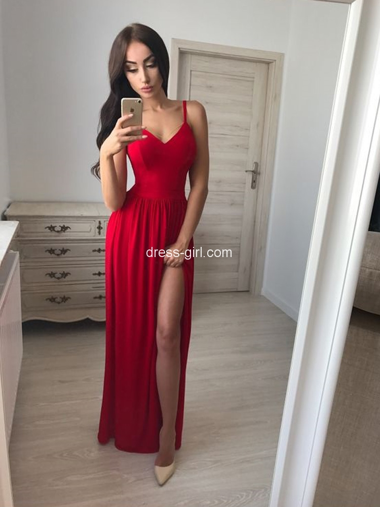 9cd20c99e4d3 Sexy A-Line Spaghetti Straps V Neck Red Elastic Satin Long Prom Dresses  with Side Split,Chic Formal Dresses DG0919002