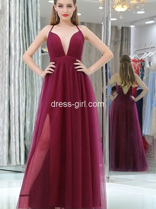 74dffefbc2 Charming A-Line Sexy Deep V Neck Criss-Cross Back Open Back Burgundy Tulle  Long Prom Dresses with Side Split,Formal Dresses