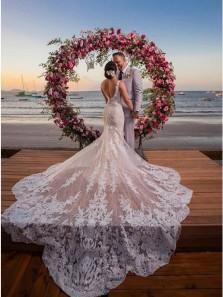 Gorgeous Mermaid V Neck Open Back White Lace Wedding Dresses with Train